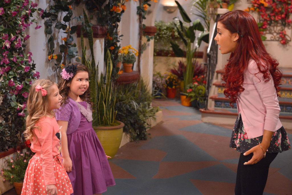 "Gwen (Sophia Grace Brownlee), Ruby (Rosie McClelland), and Cat Valentine (Ariana Grande) in the ""Sam & Cat"" episode, ""#TheBritBrats."""