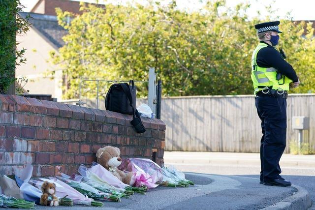 Tributes left at the scene in High Holme Road, Louth