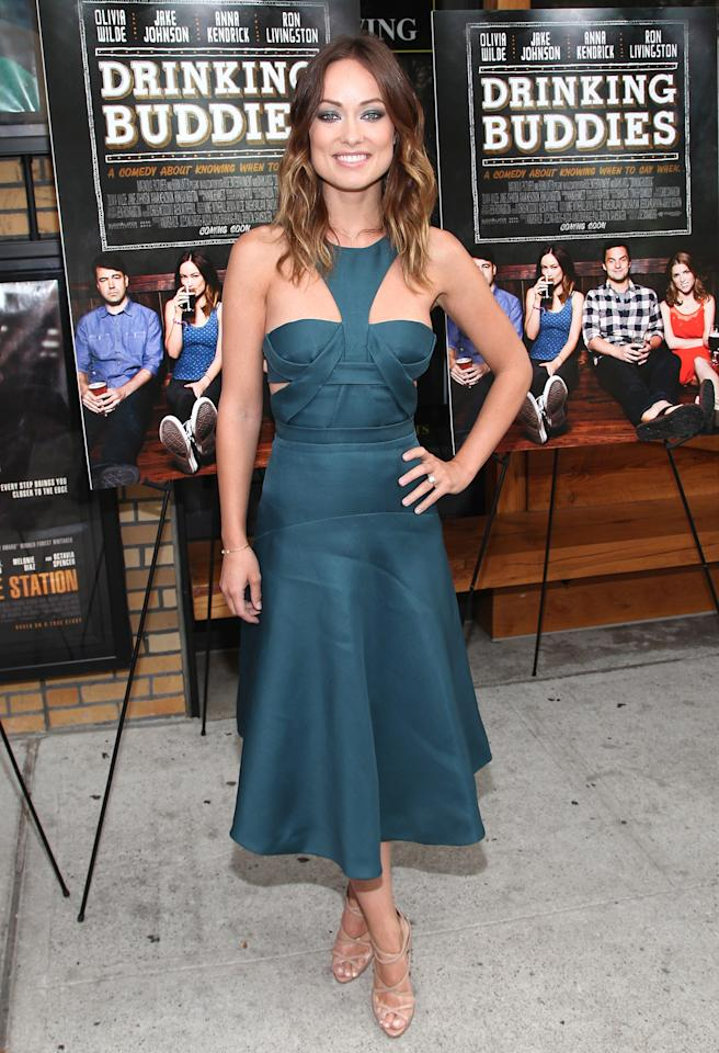 "<b>Who:</b> Olivia Wilde<br /><br /><b>Wearing:</b> J. Mendel cut-out dress, Christian Louboutin sandals<br /><br /><b>Where:</b> <a href=""http://movies.yahoo.com/movie/drinking-buddies/"">""Drinking Buddies""</a> screening in Brooklyn"