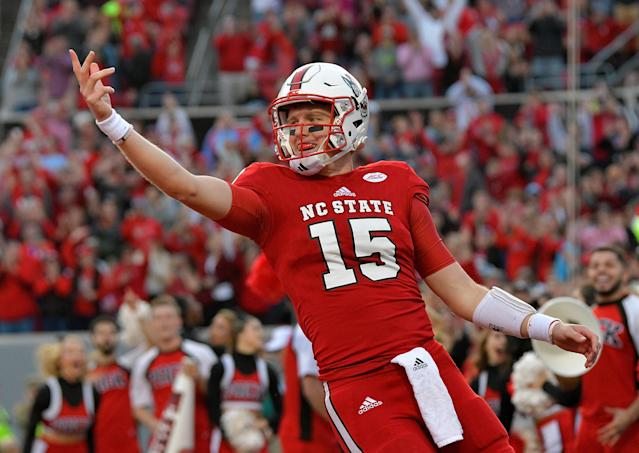 "NC State's <a class=""link rapid-noclick-resp"" href=""/ncaaf/players/225942/"" data-ylk=""slk:Ryan Finley"">Ryan Finley</a> is one of the ACC's more seasoned quarterbacks. (Getty images)"