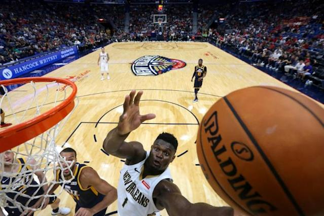 New Orleans Pelicans rookie Zion Williamson, the top pick in the NBA draft, will sit out the team's last pre-season game with a sore right knee (AFP Photo/Jonathan Bachman)