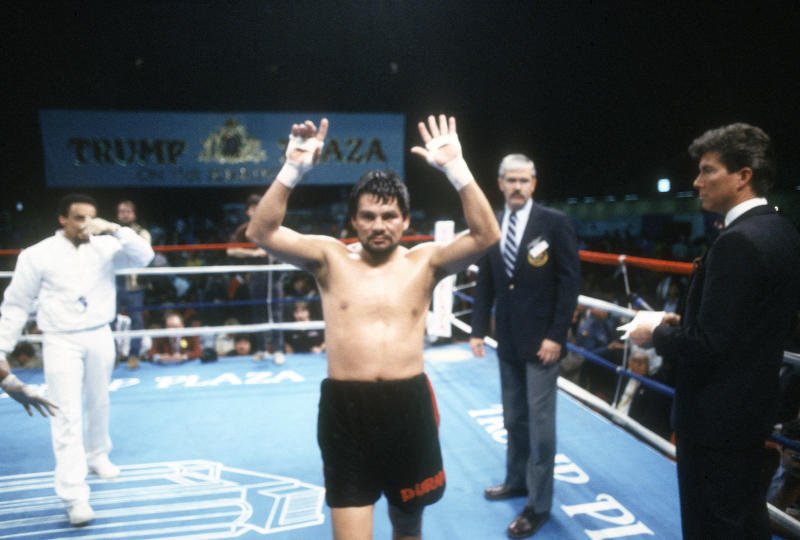 Roberto Duran celebrates after he defeated Ricky Stackhouse in a 10 round middleweight fight on February 5, 1988, at the Convention Hall in Atlantic City, New Jersey. Duran won the fight via unanimous decision.
