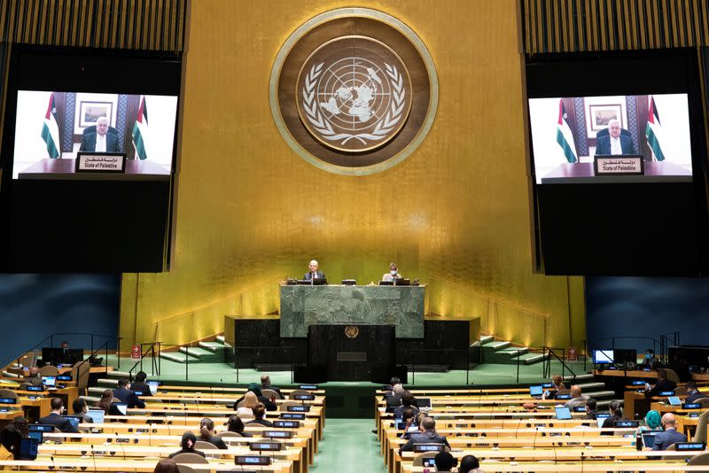 FILE PHOTO: Palestinian President Mahmoud Abbas speaks virtually during the 75th annual U.N. General Assembly