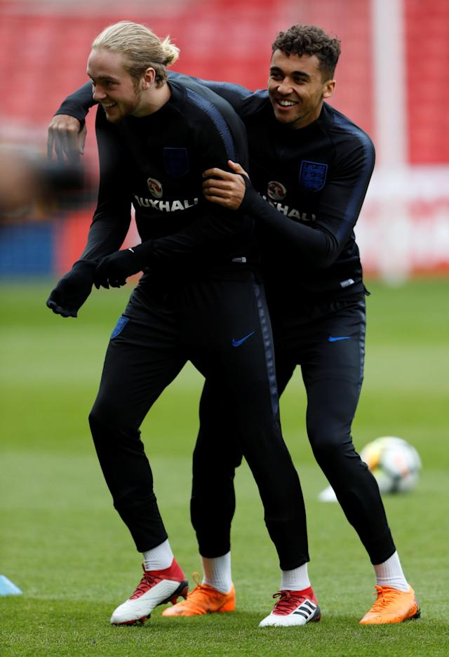 Soccer Football - England Under 21 Training - Bramall Lane, Sheffield, Britain - March 26, 2018 England's Tom Davies and Dominic Calvert-Lewin during training Action Images via Reuters/Lee Smith