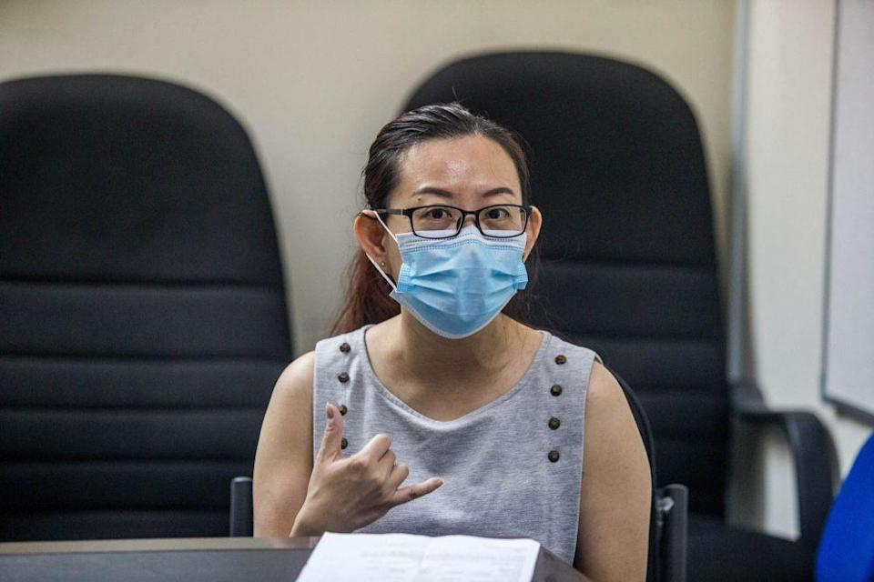 Miss Fong, sister of Hong Chen Peng speaks during a press conference in Ampang May 5, 2021. — Picture by Firdaus Latif