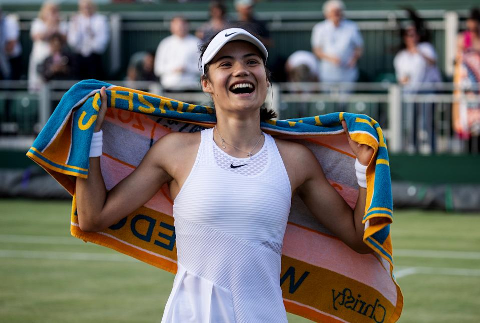 Teenage superstar Raducanu, 18, continued her remarkable SW19 run and remains the last woman standing in the singles draw