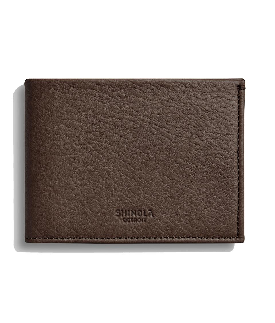 "From wallets and belts to watches and notebooks, Shinola specializes in fine leather goods that Dad will love. Opt for a classic gift, like this sleek brown wallet, and get it with free two-day shipping. $195, Shinola. <a href=""https://www.shinola.com/mens/bags-accessories/wallets/slim-bifold-wallet.html#sku=10009507-sdt-001112191"" rel=""nofollow noopener"" target=""_blank"" data-ylk=""slk:Get it now!"" class=""link rapid-noclick-resp"">Get it now!</a>"