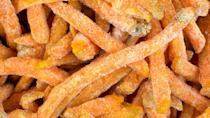"""<p><strong>Cost:</strong> $4</p> <p>Fries aren't the healthiest of side dishes, but <a href=""""https://www.gobankingrates.com/saving-money/healthy-food-under-1-dollar/#30?utm_campaign=1013195&utm_source=yahoo.com&utm_content=17"""" rel=""""nofollow noopener"""" target=""""_blank"""" data-ylk=""""slk:oven-baked sweet potato fries are the exception to that rule"""" class=""""link rapid-noclick-resp"""">oven-baked sweet potato fries are the exception to that rule</a>. A serving of these addictively tasty fries has only 140 calories and 5 grams of fat, but packs 12% of your day's fiber requirements and a whopping 60% of your vitamin A.</p>"""