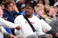 NFL Player, Von Miller, attends a game between the Portland Trail Blazers and the Denver Nuggets during Game One of the Western Conference Semifinals of the 2019 NBA Playoffs on April 29, 2019 at the Pepsi Center in Denver, Colorado. (Photo by Bart Young/NBAE via Getty Images)