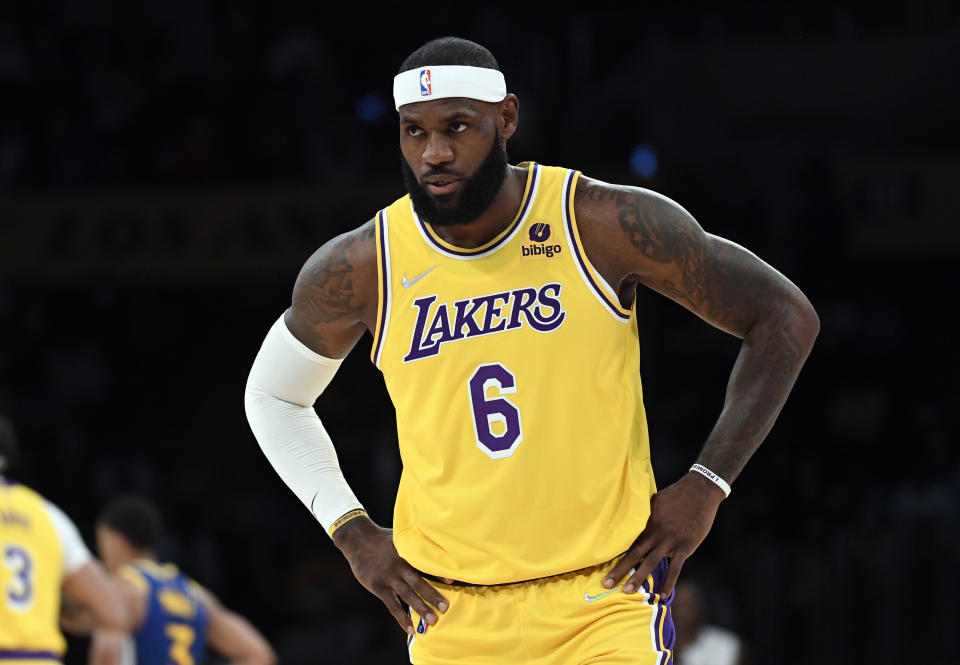 LOS ANGELES, CA - OCTOBER 12: LeBron James #6 of the Los Angeles Lakers during the second half of a preseason basketball game against the Golden State Warriors at Staples Center on October 12, 2021 in Los Angeles, California. NOTE TO USER: User expressly acknowledges and agrees that, by downloading and/or using this Photograph, user is consenting to the terms and conditions of the Getty Images License Agreement. (Photo by Kevork Djansezian/Getty Images)