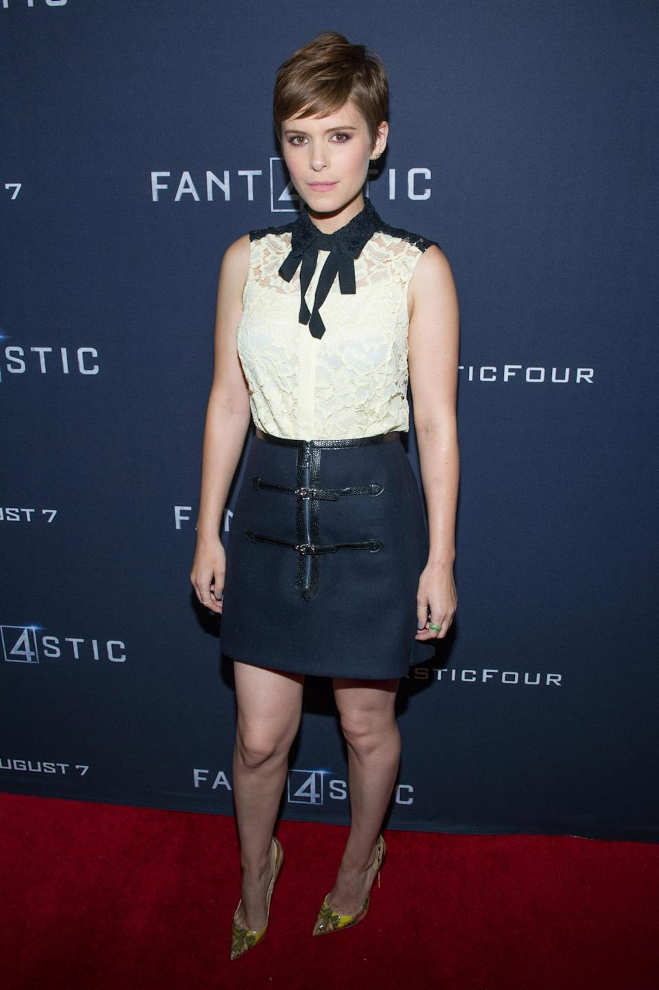 <p>The fashionable actress attended the Atlanta screening of her newest film,<i> Fantastic Four</i>, in an outfit that complemented her new pixie cut.<br><br></p>