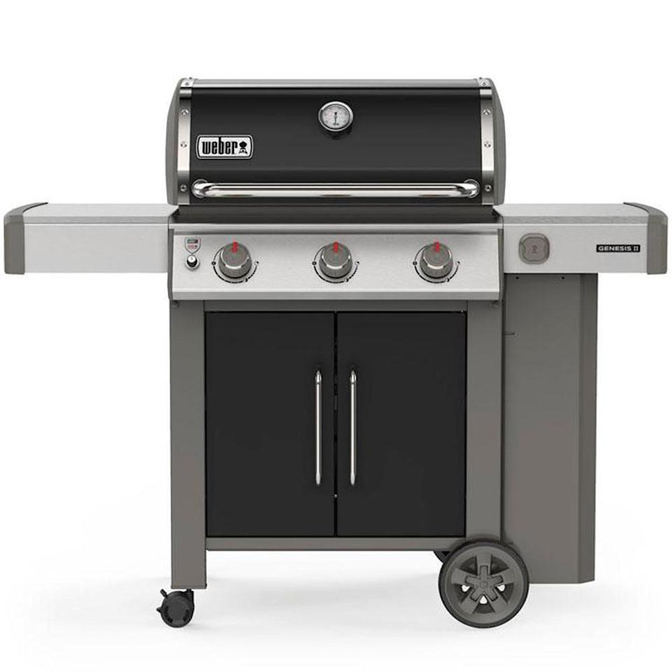 """<p><strong>weber</strong></p><p>homedepot.com</p><p><a href=""""https://go.redirectingat.com?id=74968X1596630&url=https%3A%2F%2Fwww.homedepot.com%2Fp%2FWeber-Genesis-II-E-315-3-Burner-Propane-Gas-Grill-in-Black-61015001%2F306835141&sref=https%3A%2F%2Fwww.menshealth.com%2Ftechnology-gear%2Fg33013799%2Fhome-depot-4th-of-july-sale-best-deals%2F"""" rel=""""nofollow noopener"""" target=""""_blank"""" data-ylk=""""slk:BUY IT HERE"""" class=""""link rapid-noclick-resp"""">BUY IT HERE</a></p><p><del>$799.00</del><strong><br>$749.00</strong></p><p>Craving some mouth-watering barbecue? Right now, you can save up to $50 on Weber's wildly popular grills. Now all you need to do is buy a juicy slab of steak and fire up the propane. </p>"""