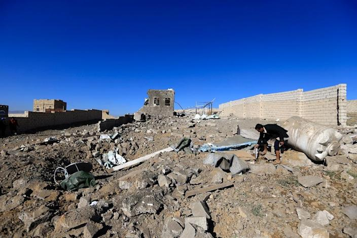 Yemen's rebel-held capital Sanaa has been repeatedly hit by Saudi-led air strikes, like this one in February, that have caused widespread damage (AFP Photo/Mohammed HUWAIS)
