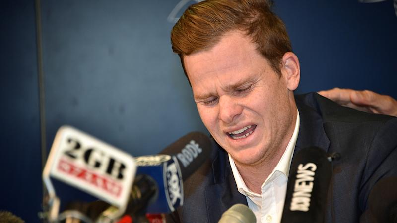 Steve Smith, pictured here breaking down in tears when he arrived back in Australia.