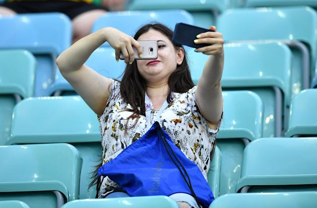 Soccer Football - World Cup - Group F - Germany vs Sweden - Fisht Stadium, Sochi, Russia - June 23, 2018 Fan takes a selfie inside the stadium before the match REUTERS/Dylan Martinez