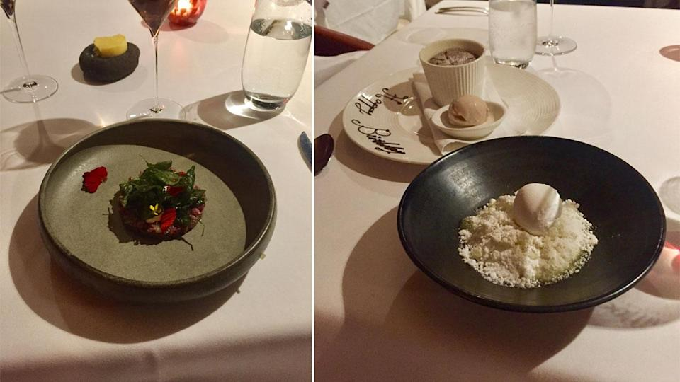 While the menu changes every night, guests can expect anything from wallaby tartar (left) to banana souffle (right). Photo: Lucy-Mae Beers