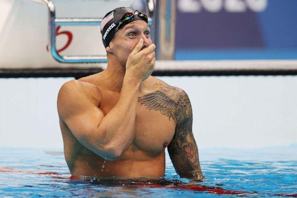 PHOTO: Caeleb Dressel of Team United States reacts after winning the gold medal in the Men's 100m Freestyle Final on day six of the Tokyo 2020 Olympic Games at Tokyo Aquatics Centre on July 29, 2021 in Tokyo, Japan. (Al Bello/Getty Images)