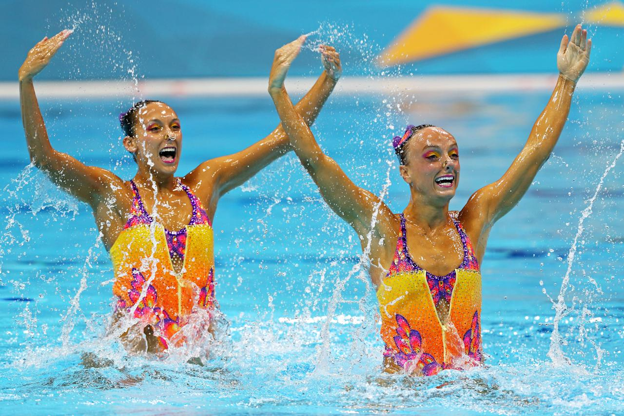 Gagnon Boudreau and Elise Marcotte of Canada compete in the Women's Duets Synchronised Swimming Technical Routine on Day 9 of the London 2012 Olympic Games at the Aquatics Centre  on August 5, 2012 in London, England.  (Photo by Clive Rose/Getty Images)