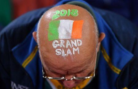 Rugby Union - June Internationals - Australia vs Ireland - Lang Park, Brisbane, Australia - June 9, 2018 - An Irish supporter displays a sign painted on his head before the start of the game. AAP/Darren England/via REUTERS