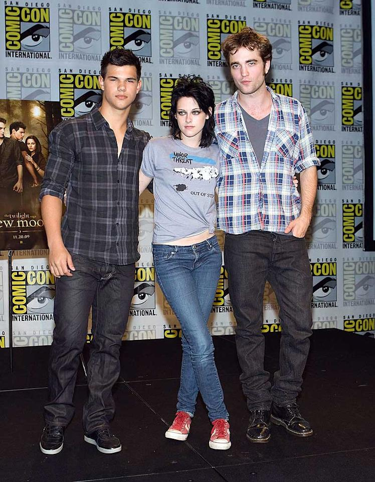 "Also in attendance ... the stars of ""New Moon"" -- Taylor Lautner, Kristen Stewart, and Robert Pattinson -- whose rabid fans camped out for days in order to catch a glimpse of their idols and previously unseen footage from the latest film in the ""Twilight"" series. Chelsea Lauren/<a href=""http://www.wireimage.com"" target=""new"">WireImage.com</a> - July 23, 2009"