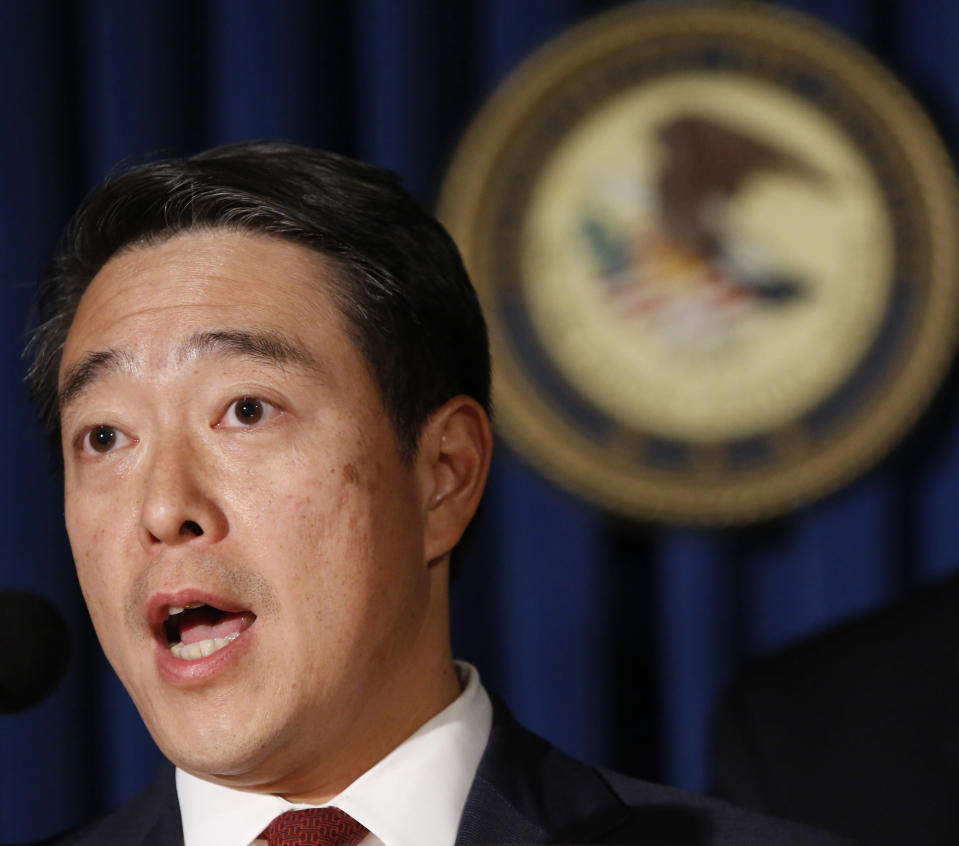 """FILE - In this Wednesday, Nov. 1, 2017 photo, acting U.S. Attorney Joon H. Kim speaks during a news conference at the U.S. Attorney's office in New York. On Monday, March 8, 2021 New York Attorney General Letitia James named Kim and Anne Clark, an employment lawyer, to investigate allegations that Gov. Andrew Cuomo sexually harassed his female aides. James said the pair are """"independent, legal experts who have decades of experience conducting investigations and fighting to uphold the rule of law."""" (AP Photo/Kathy Willens, File)"""