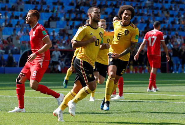 Soccer Football - World Cup - Group G - Belgium vs Tunisia - Spartak Stadium, Moscow, Russia - June 23, 2018 Belgium's Eden Hazard celebrates with Axel Witsel after scoring their first goal REUTERS/Grigory Dukor
