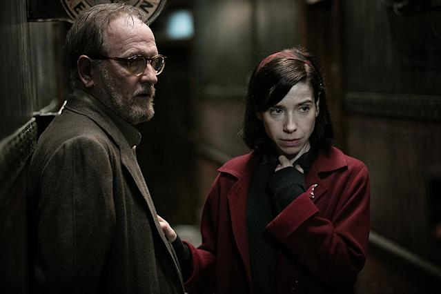 """<p><a href=""""https://www.yahoo.com/movies/tagged/guillermo-del-toro"""" data-ylk=""""slk:Guillermo Del Toro"""" class=""""link rapid-noclick-resp"""">Guillermo Del Toro</a>'s latest creature feature stars monster maestro <a href=""""https://www.yahoo.com/movies/tagged/doug-jones"""" data-ylk=""""slk:Doug Jones"""" class=""""link rapid-noclick-resp"""">Doug Jones</a> as a water-based life form which develops a powerful friendship with <a href=""""https://www.yahoo.com/movies/tagged/sally-hawkins"""" data-ylk=""""slk:Sally Hawkins"""" class=""""link rapid-noclick-resp"""">Sally Hawkins</a>'s mute janitor that looks a lot like love. 