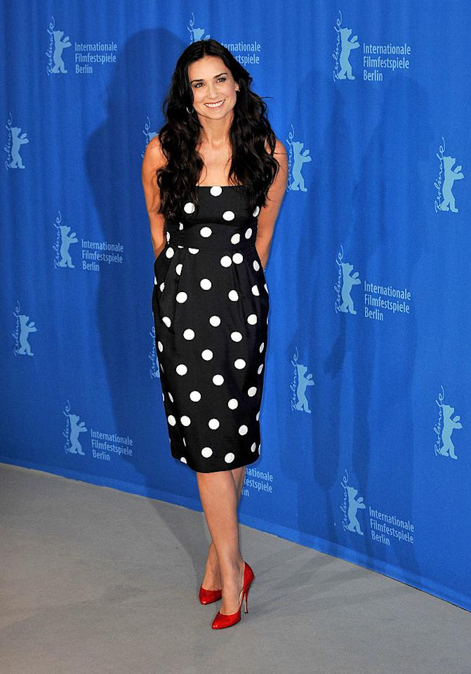 """Demi Moore also brought some much-needed glamour to Berlin thanks to this navy-and-white polka dot dress courtesy of Michael Kors. Dominique Charriau/<a href=""""http://www.wireimage.com"""" target=""""new"""">WireImage.com</a> - February 11, 2009"""