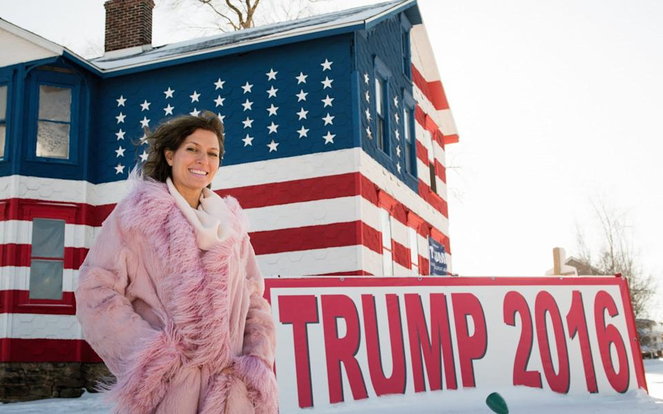 Leslie Rossi, 47, owner of The Trump House 2016 in Youngstown - Joe Appel for the Daily Telegraph