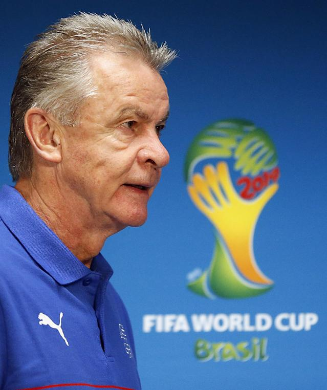 Switzerland's coach Ottmar Hitzfeld arrives for a press conference at the Arena da Amazonia in Manaus, Brazil, Tuesday, June 24, 2014, one day before the group E match between Honduras and Switzerland of the 2014 soccer World Cup. (AP Photo/Frank Augstein)