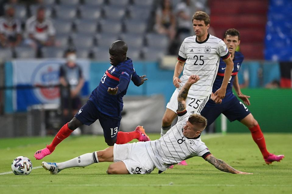 Chelsea and France midfielder N'Golo Kante (left) (POOL/AFP via Getty Images)