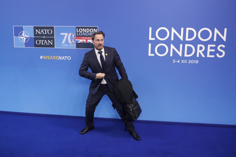 Luxembourg's Prime Minister Xavier Bettel arrives for a NATO leaders meeting at The Grove hotel and resort in Watford, Hertfordshire, England, Wednesday, Dec. 4, 2019. As NATO leaders meet and show that the world's biggest security alliance is adapting to modern threats, NATO Secretary-General Jens Stoltenberg is refusing to concede that the future of the 29-member alliance is under a cloud. (AP Photo/Matt Dunham)