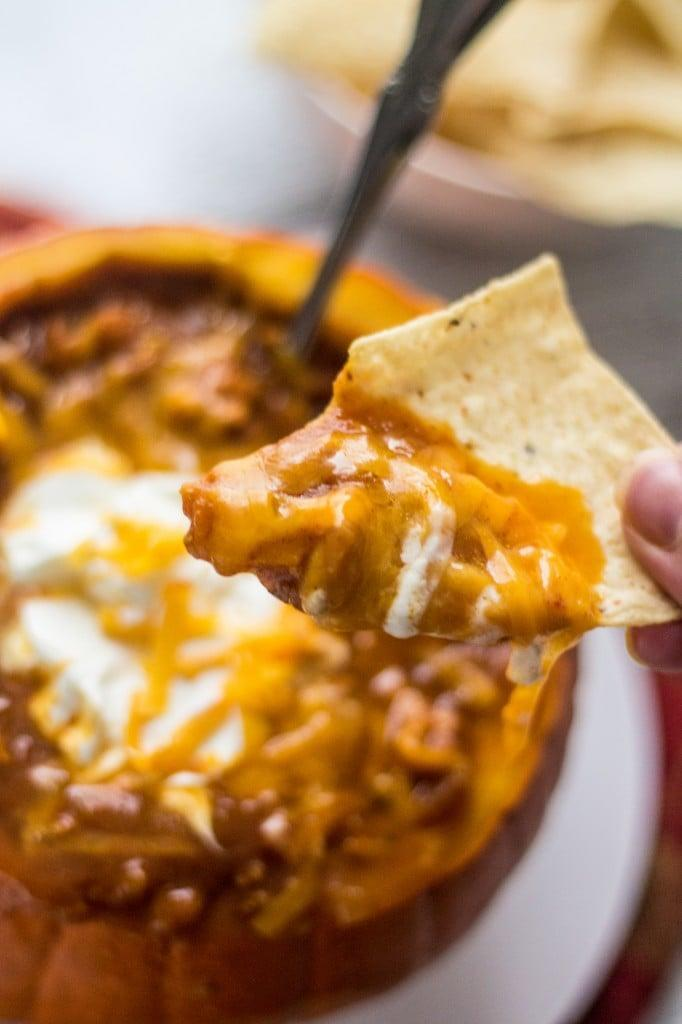 "<p>There's nothing better than warm chili on a cold day, especially when it's pumpkin-flavored chili! With ground turkey, chicken maple sausage, veggies, beans, and pumpkin puree, this hot dip will go fast. This recipe yields 10 servings, so you can freeze some and save it for later.</p> <p><strong>Get the recipe:</strong> <a href=""https://www.oliviascuisine.com/pumpkin-chili/"" class=""link rapid-noclick-resp"" rel=""nofollow noopener"" target=""_blank"" data-ylk=""slk:pumpkin chili"">pumpkin chili</a></p>"
