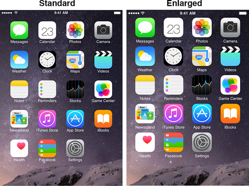 iPhone 6 in Standard and Enlarged view