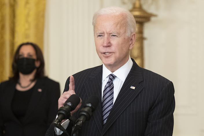 President Biden speaks delivers an address at the White House. (Michael Reynolds/EPA/Bloomberg via Getty Images)