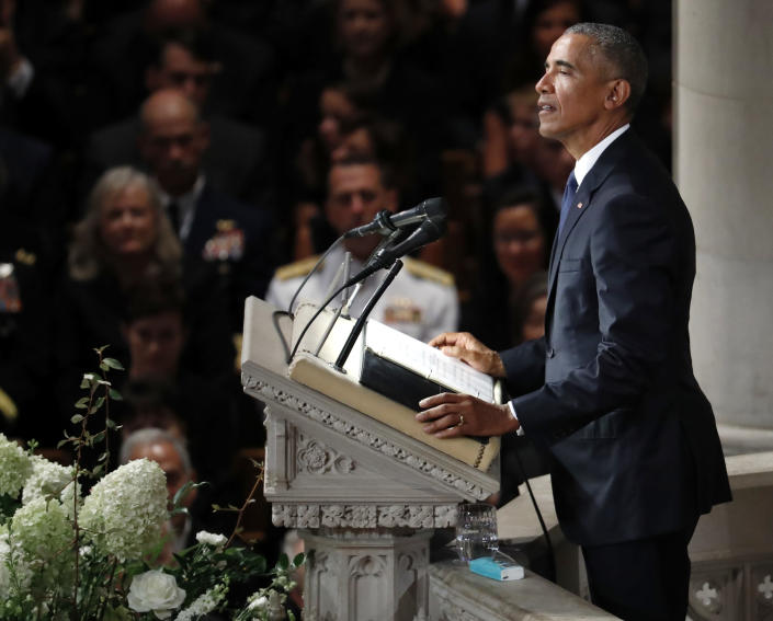"""<span class=""""s1"""">Former President Barack Obama speaks at the National Cathedral memorial service on Saturday. (Photo: Pablo Martinez Monsivais/AP)</span>"""