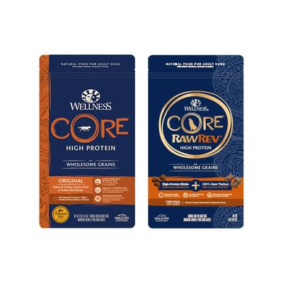 Wellness CORE with Wholesome Grains and Wellness CORE RawRev with Wholesome Grains are the first-ever grained recipes for the CORE brand, containing protein-packed kibble expertly combined with nutrient-dense, highly digestible grains like quinoa, barley and oatmeal.