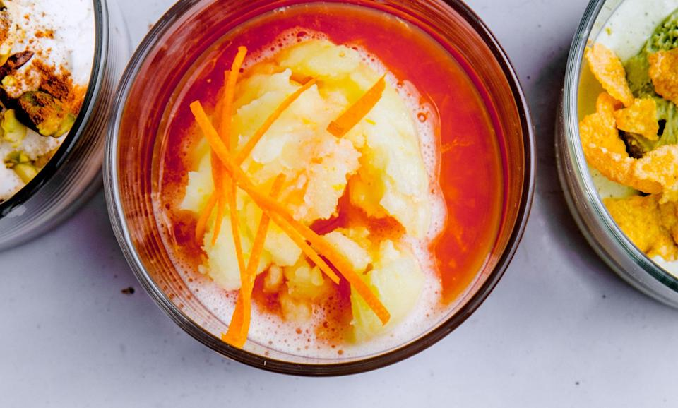 """Try this delicious variation on the traditional vanilla-and-espresso dessert. <a href=""""https://www.bonappetit.com/recipe/campari-affogato-with-lemon-sorbet?mbid=synd_yahoo_rss"""" rel=""""nofollow noopener"""" target=""""_blank"""" data-ylk=""""slk:See recipe."""" class=""""link rapid-noclick-resp"""">See recipe.</a>"""