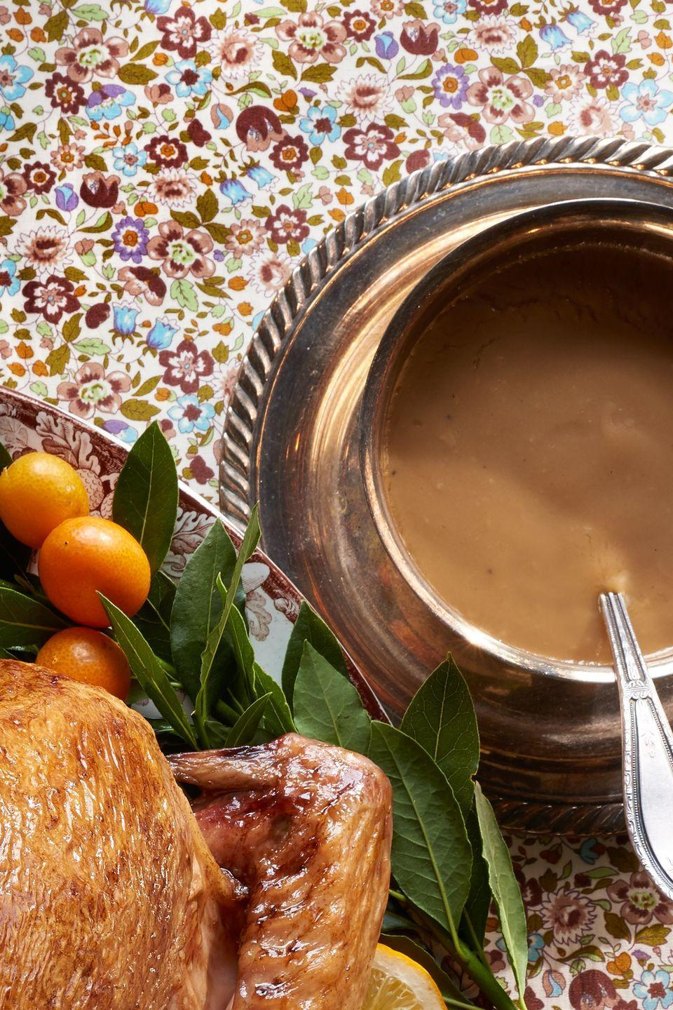 """<p>Beer and orange juice complement each other nicely in this sweet and savory gravy.</p><p>Get the recipe from <a href=""""/cooking/recipe-ideas/recipes/a45116/bay-leaf-beer-and-orange-gravy/"""" data-ylk=""""slk:Delish"""" class=""""link rapid-noclick-resp"""">Delish</a>.</p>"""