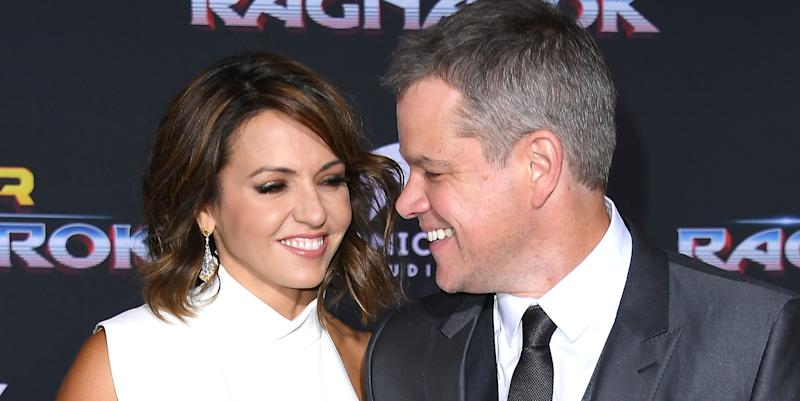"Luciana Barroso and Matt Damon at the ""Thor: Ragnarok"" premiere Oct. 10."