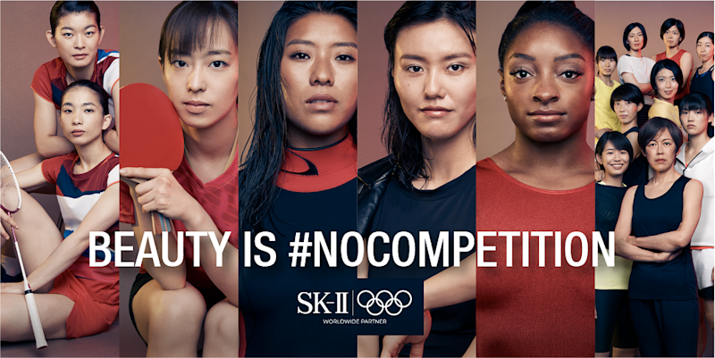 """VS""—an SK-II STUDIO Animated Series is a collection of six animated films based on the real-life experiences of six Olympic athletes—Simone Biles, the world's most decorated gymnast, LiuXiang, world-record swimmer, Ishikawa Kasumi, table tennis player and two-time Olympic medalist, Ayaka Takahashi and Misaki Matsutomo, badminton duo and Olympic gold medalists, Mahina Maeda, surfer and Hinotori Nippon, the Japan Volleyball team, battling toxic competitions in beauty. (Photo: SK-II)"