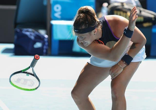 Aryna Sabalenka hurls her racket to the ground during her defeat by Serena Williams