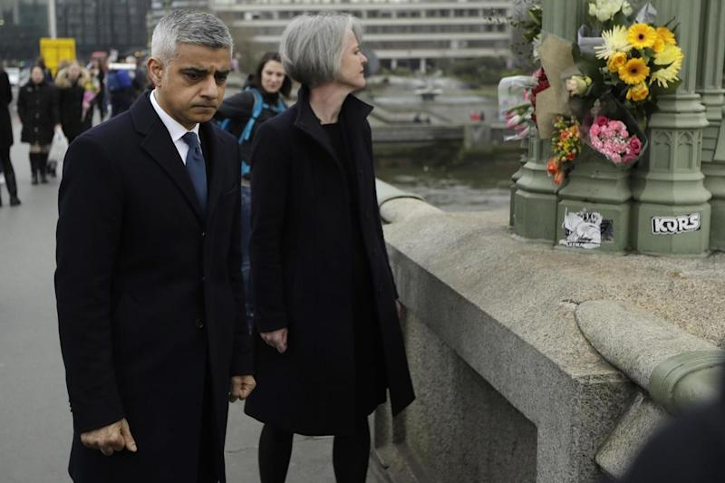 Sadiq Khan walked along Westminster Bridge 48 hours after the attack (AP)