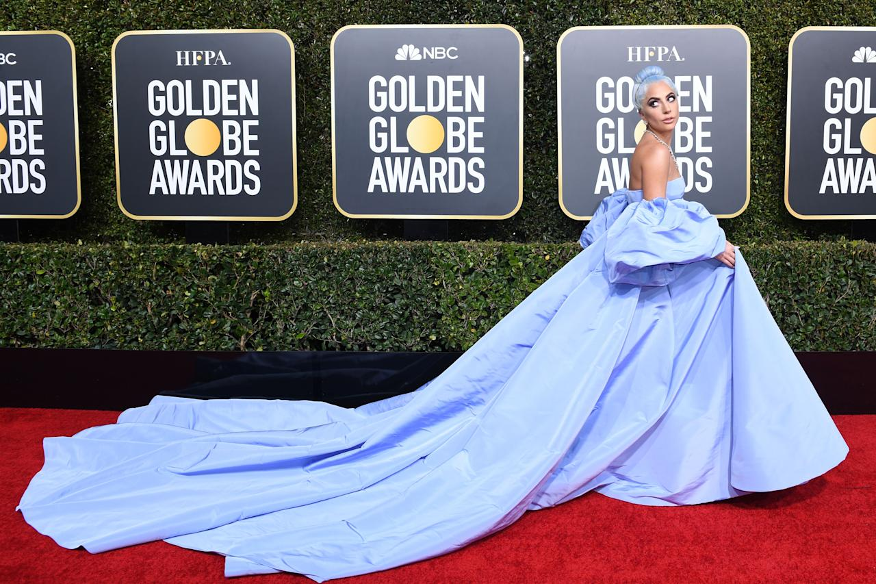 <p>Lady Gaga officially won the 2019 Golden Globes red carpet in this lavendar Valentino gown with a sweeping train. Photo: Getty Images </p>