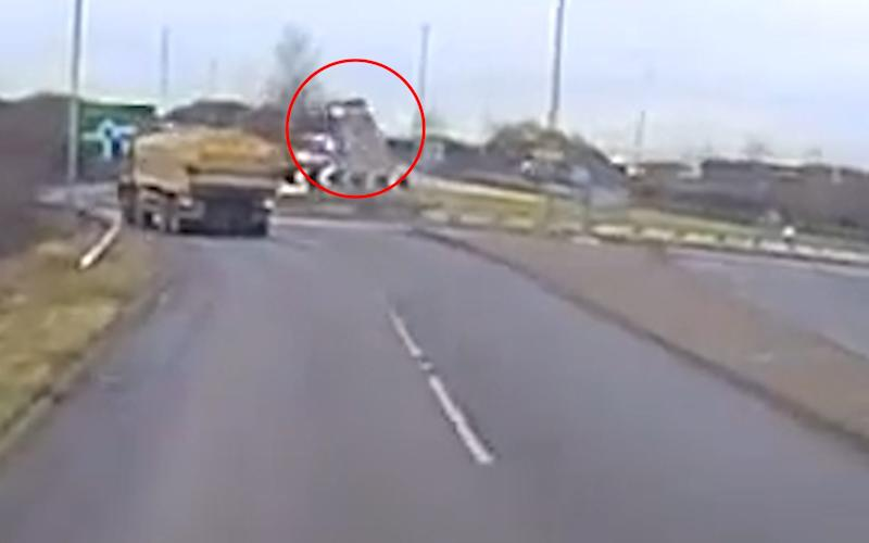 Car flies over roundabout - Credit: Cambridgeshire Police