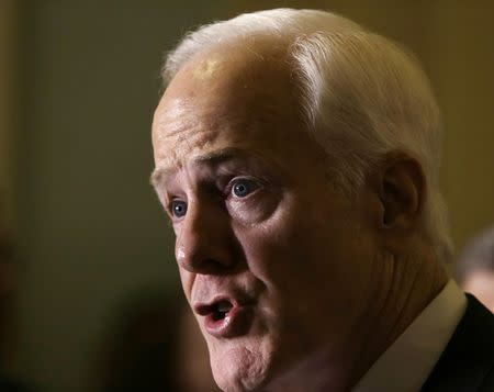 Senator Cornyn talks to reporters on immigration crisis in Texas in Washington
