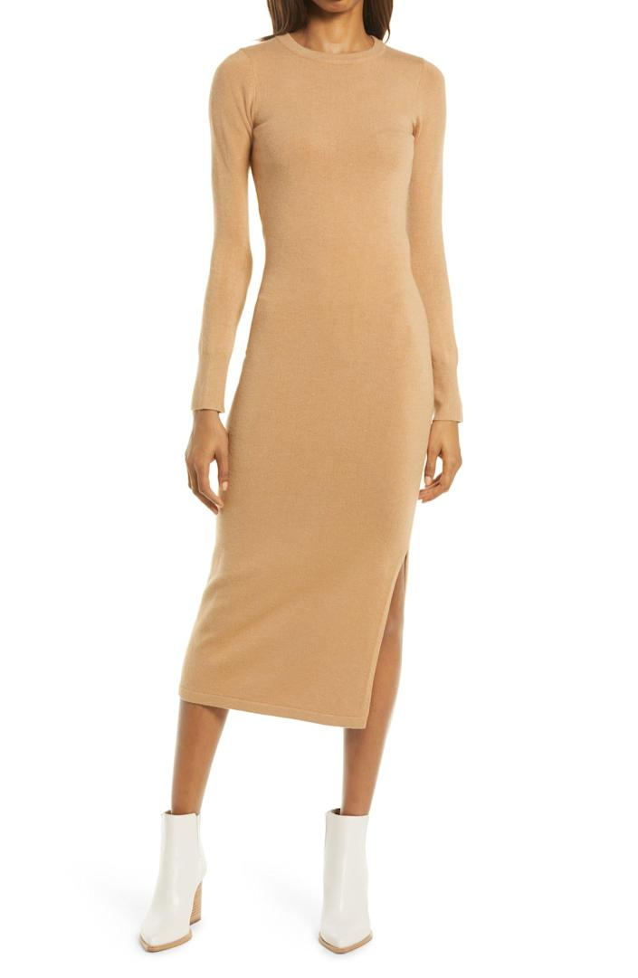 """<h2>French Connection Babysoft Mock Neck Sweater Dress</h2><br><strong><em>The Sweater Dress</em></strong> <em><strong>(And Then Some)</strong></em><br><br>If <a href=""""https://www.refinery29.com/en-us/plus-size-sweater-dresses"""" rel=""""nofollow noopener"""" target=""""_blank"""" data-ylk=""""slk:the sweater dress"""" class=""""link rapid-noclick-resp"""">the sweater dress</a> is the ultimate fall frock, this extra-long take on the trend offers even more dress to love. It's soft, it's stretchy, and it's ideal for transitional wear. <br><br><strong>The Hype: </strong>4.6 out of 5 stars; 15 reviews on Nordstrom.com<br><br><strong>What They're Saying</strong>: """"This dress is made of amazingly soft fabric. Just enough stretch to this body-con dress. Can't wait to pair with some boots!"""" — LRFarm, Nordstrom reviewer<br><br><em>Shop</em> <strong><em><a href=""""https://www.nordstrom.com/s/french-connection-babysoft-mock-neck-sweater-dress/6530573"""" rel=""""nofollow noopener"""" target=""""_blank"""" data-ylk=""""slk:Nordstrom"""" class=""""link rapid-noclick-resp"""">Nordstrom</a></em></strong><br><br><strong>French Connection</strong> Babysoft Mock Neck Sweater Dress, $, available at <a href=""""https://go.skimresources.com/?id=30283X879131&url=https%3A%2F%2Fwww.nordstrom.com%2Fs%2Ffrench-connection-babysoft-mock-neck-sweater-dress%2F6530573"""" rel=""""nofollow noopener"""" target=""""_blank"""" data-ylk=""""slk:Nordstrom"""" class=""""link rapid-noclick-resp"""">Nordstrom</a>"""