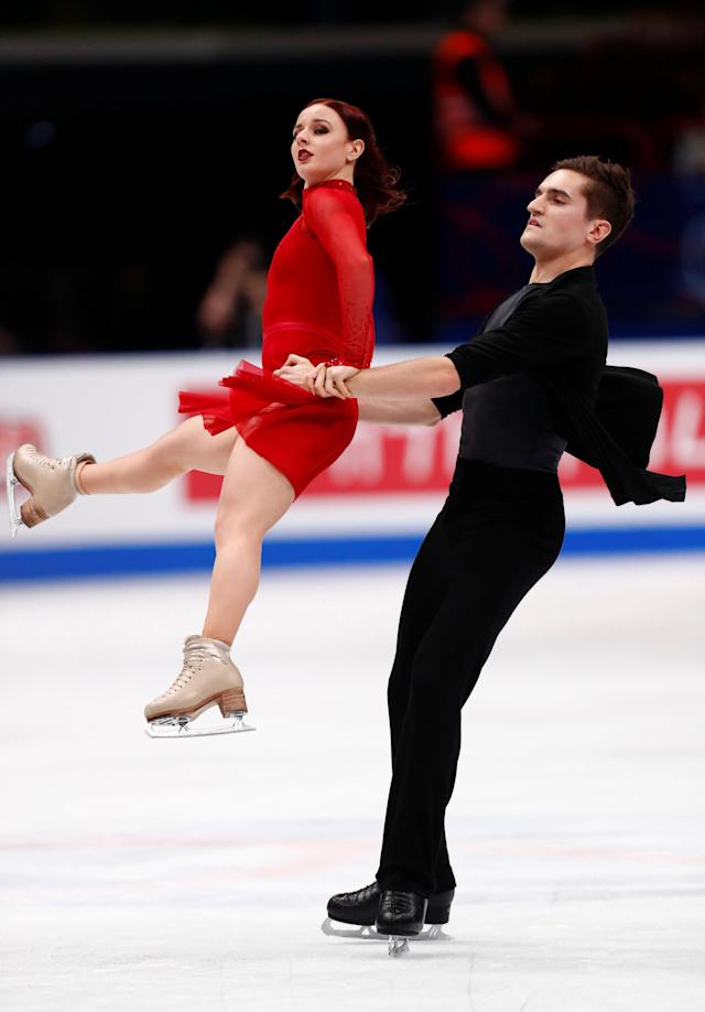 Figure Skating - World Figure Skating Championships - The Mediolanum Forum, Milan, Italy - March 24, 2018 France's Marie-Jade Lauriault and Romain Le Gac during the Ice Dance Free Dance REUTERS/Alessandro Garofalo