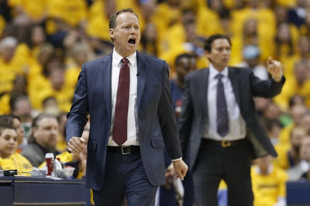 INDIANAPOLIS, IN - MAY 3: Atlanta Hawks head coach Mike Budenholzer shouts instructions to his team against the Indiana Pacers during Game Seven of the Eastern Conference Quarterfinals of the 2014 NBA Playoffs on May 3, 2014 at Bankers Life Fieldhouse in Indianapolis, Indiana. NOTE TO USER: User expressly acknowledges and agrees that, by downloading and or using this photograph, User is consenting to the terms and conditions of the Getty Images License Agreement. (Photo by Joe Robbins/Getty Images)