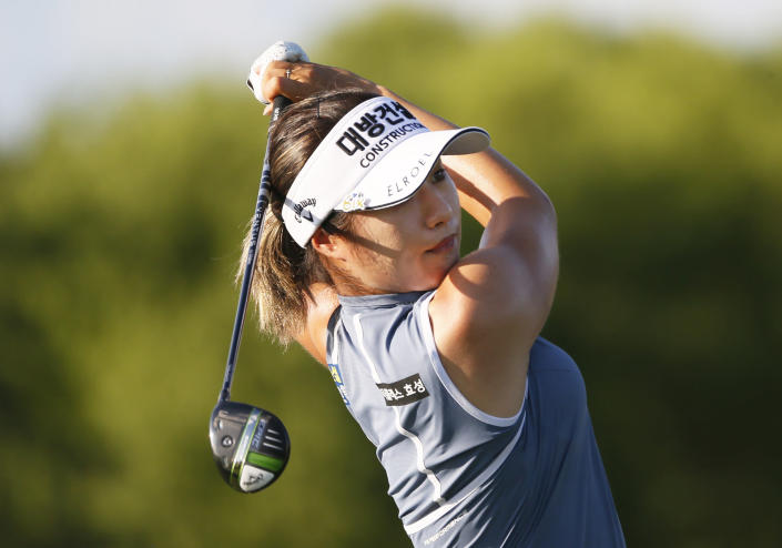 Jeongeun Lee6, of South Korea, plays her shot from the ninth tee during the second round of the LPGA Volunteers of America Classic golf tournament in The Colony, Texas, Friday, July 2, 2021. (AP Photo/Ray Carlin)